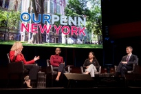 Eric and fellow students, Liz and Sandra, live at Lincoln Center with President Amy Gutmann