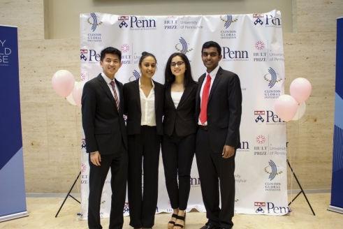 Nishita (center, right) and her teammates, Riddhi, Varun, and Charles at the Hult Prize @ Penn competition in December. Photo credit: Zian Xiong / Daily Pennsylvanian